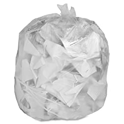 Genuine Joe Gjo01013 Low-density Trash Can Liner, 33 Gallon Capacity, 39 Length X 33 Width X 0.60 Mil Thickness, Clear (Box Of 250)