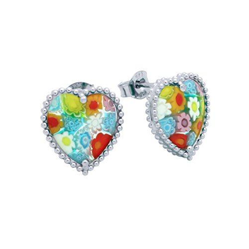 Sterling Silver Multicolor Glass Murano Millefiori Heart Earrings (Made in (Heart Cut Murano Glass)