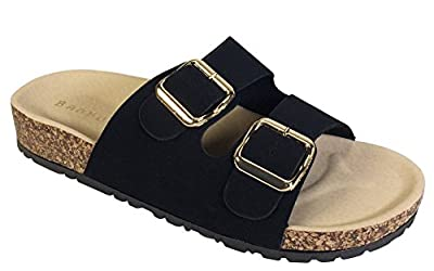 BAMBOO Women's Double Strap and Buckle Footbed Sandal