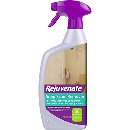 - Rejuvenate Scrub Free Soap Scum Remover Non-Toxic Non-Abrasive Cleaning Formula - Spray and Rinse for Streak Free Finish on Glass, Ceramic Tile, Chrome, Plastic and More - 24 Ounce