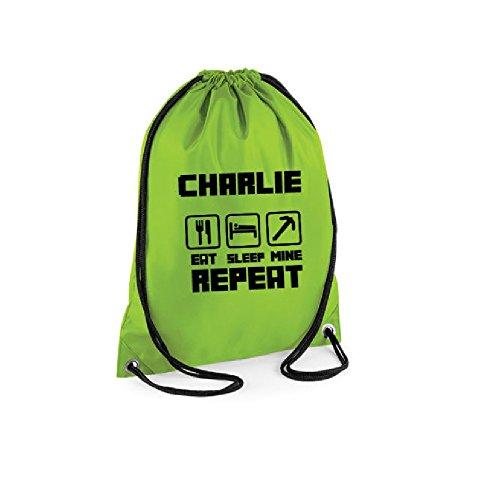 Eat Sleep Mine bolsa escuela solapa bolsa personalizado Back Pack, Black with White Logo, talla única Bright Green with Black Logo