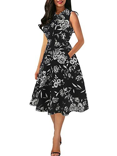 oxiuly Women's Elegant Bow Tie V-Neck Pockets Work Party Cocktail A-line Midi Summer Dress OX278 (M, BKWF Full)