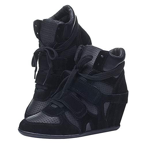 Branché Femmes Haute Mode p Noir Coupe Talon Chaussures Rismart Compensé Baskets qawUXdUHp