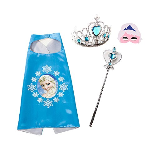Halloween Ideas Pocahontas Costumes (Toddler Girls Cloak,Birthday Party Halloween Costume Cloak,Elsa Crown/Magic Stick/Mask Set)