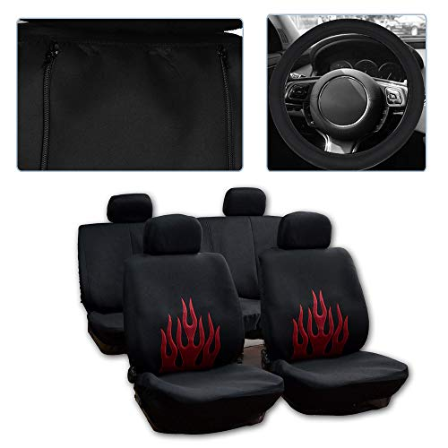 ck/Red Car Seat Cover w/Headrest Cover/Steering Wheel Cover/Shoulder Pads 11PCS Breathable Mesh Cloth Retractable Auto Cover Replacement for Most Cars ()