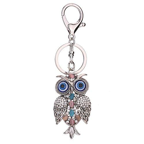Chbc Fashion Owl Rhinestone Handbag Charm Pendant Keychain Bag Keyring Key Chain Gift  Silver