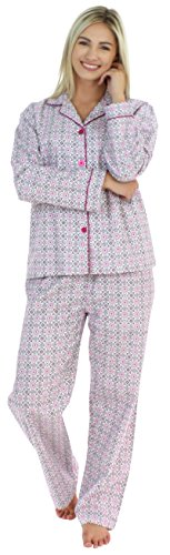 PajamaMania Women's Sleepwear Flannel Long Sleeve Pajama Set- Pink Circles (PMF1002-2037-LRG) (Pajama S)