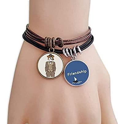 YMNW Lovely Clothes Dog Watercolor Illustration Friendship Bracelet Leather Rope Wristband Couple Set Estimated Price -