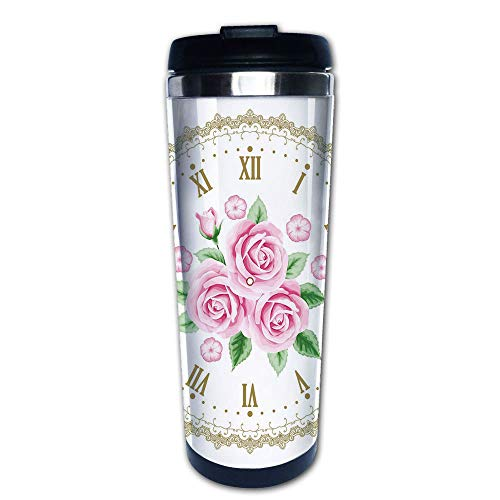 Stainless Steel Insulated Coffee Travel Mug,Face Roses Roman Numbers Antique Vintage,Spill Proof Flip Lid Insulated Coffee cup Keeps Hot or Cold 13.6oz(400 ml) Customizable ()