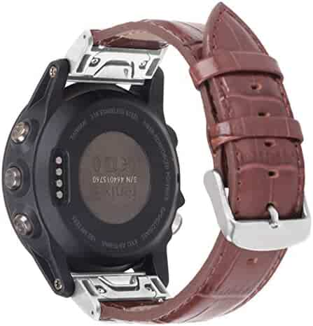 46eff02fa Bonstrap Watch Band Replacement Leather 26mm Brown Compatible with Fenix5X  Fenix3 Quick Release