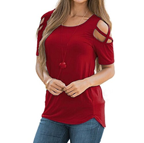 Qisc Womens Tops Women Cold Shoulder Cut Out Sleeve Blouse Top T-Shirt Tunics Blouse (L, Wine Red) (Red Top Falls Church)