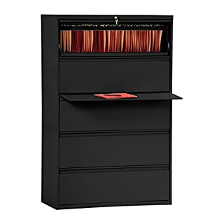 "Sandusky Lee LF8F425-09 800 Series 5 Drawer Lateral File Cabinet, 19.25"" Depth x 66.375"" Height x 42"" Width, Black"