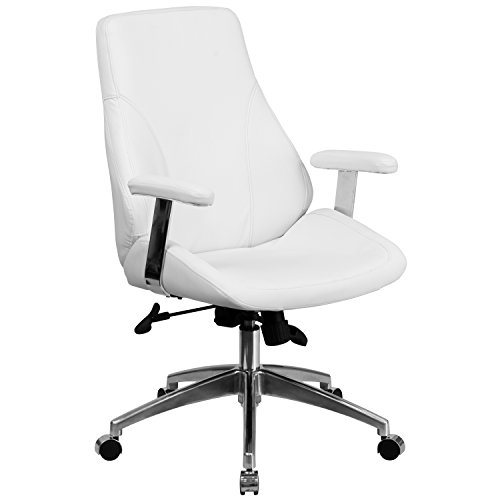 mid-back-white-leather-executive-swivel-office-chair