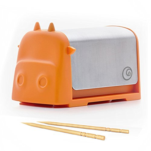 Home and Above Darling Little Cattle Toothpick Dispenser, Amazing Whimsical Design Looks Like Creative Colorful...