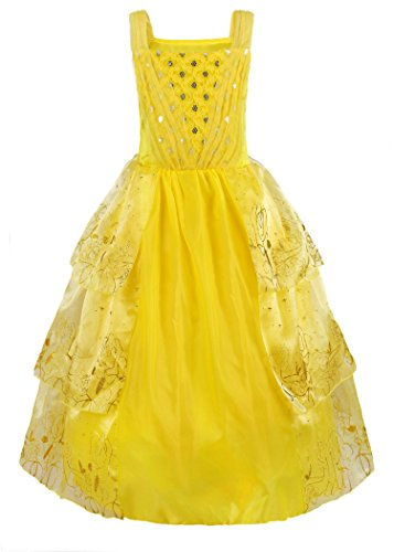 Sleeveless Costumes (JerrisApparel Girls Yellow Princess Belle Costume Sequins Sleeveless Dress Up (6-6X, Yellow))
