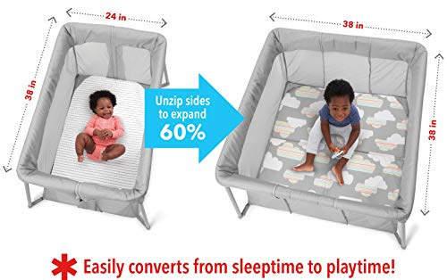 41QjRjfk2HL - Skip Hop Portable Playard: Play To Night Expanding Travel Crib To Playard