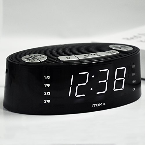 iTOMA Alarm Clock Radio, Digital AM FM, Dual Alarm, Snooze, Dimmer Control, Indoor Temperature Display, Countdown Timer, Backup Battery (CKS3301B) by iTOMA