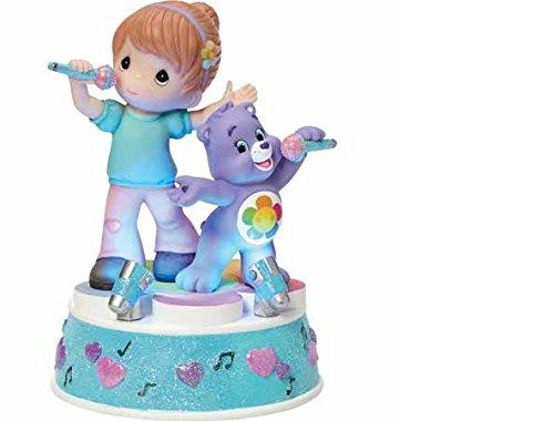 Precious Moments Company 163102 Precious Moments, Care Bears, Girl with harmony Bear, Music Box, LED Lights, Resin, 163102,Multi