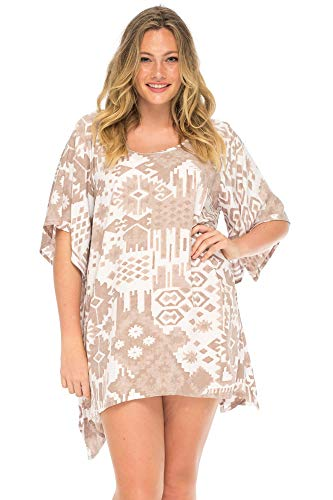 Back From Bali Womens Boho Print Plus Size Beach Dress Loose Fit Tunic Top Asymmetrical Hem Bohemian Swimsuit Cover Up Coffee Brown 2X