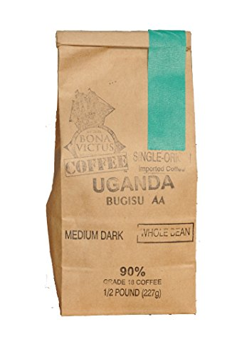 Coffee Bean Uganda Single Origin Bugisu AA Whole Bean Medium Dark Roast 1/2 Lb