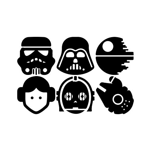 Set of 6 Vinyl Wall Art Decals - Star Wars Inspired Characters - 4.2
