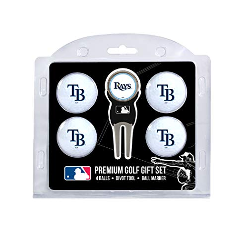 (Team Golf MLB Tampa Bay Rays Regulation Size Golf Balls (4 Count) & Divot Tool with Removable Double-Sided Magnetic Marker)
