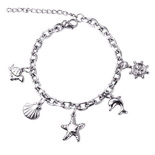 RUNXINTD Ocean Beach Chain Link Bracelet Turtle Starfish Seashell Dolphin Charms Gift for Girls Womens (Silver-Ocean Beach Charm)