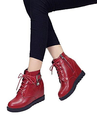 Boots Inverno Rosso Martin Crescente Donna Scarpe Minetom Autunno Stivali Altezza Zeppa Stringate xnXAW6