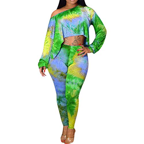 Women Tracksuit Club Long Sleeve Tie-Dyed Loose Blouse Tops+Long Pants Suit Sets Green