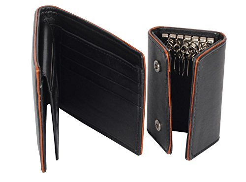 Black Credit Cards Window Genuine Soft Leather Billfold Wallet Key Holder Case