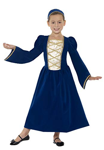 Smiffys Children's Tudor Princess Girl Costume, Dress and Headband, Color: Blue, Ages 10-12, Size: Large, 44013]()