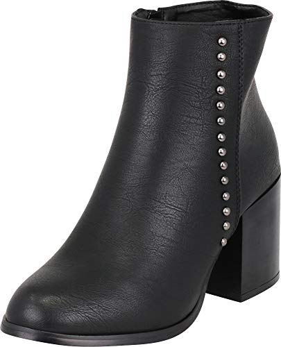 Cambridge Select Women's Western Distressed Dome Studded Chunky Heel Ankle Bootie,8 B(M) US,Black PU