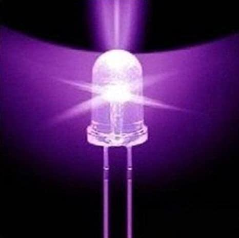 100PCS Purple Light F5 5mm Round Ultra Violet LED UV Light 390-395nm Lamp