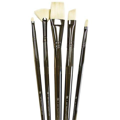 ROYAL BRUSH - Zen Brush Set - Series 33 Acrylic/Oil Long Handle Set - Flat 12, Bright 1, Fan 4, Angular 8, Filbert 2