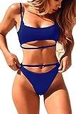 QINSEN Womens High Cut 2pcs Swimsuit Scoop Neck Cropp Top Cutout Strappy Thong Bikini Suit Sapphire Blue M