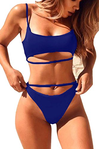 QINSEN Womens High Cut Bikini Beachwear Cami Crop Tank + Brazilian Style...