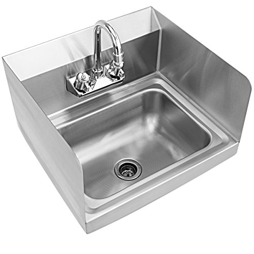 Giantex Stainless Steel Hand Washing Sink with Wall Mount Faucet & Side Splashes NSF Commercial Kitchen Heavy Duty Hot & Cold Temperature Water Inlet Washing Basin, Silver by Giantex