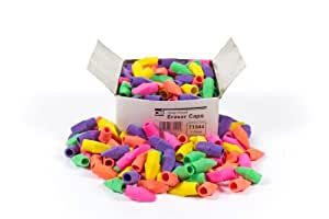 Charles Leonard Pencil Eraser Caps, Latex Free, Assorted Colors, 144/Box (71544)