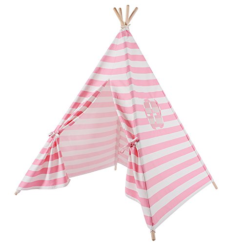 Kids Teepee Play Tent - 5' Feet Tall Large Premium Handcrafted Indoor Children Indian Tent by Wonder Space, Ideal Activity Play Center Playroom for Toddlers & Kids (Pink - The Indian Hut