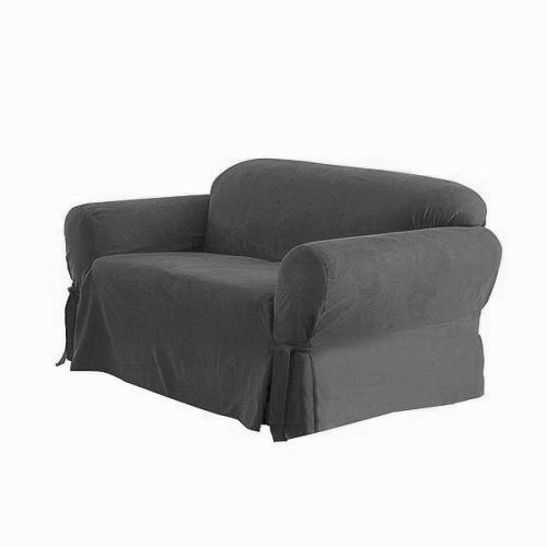 Micro Suede Solid Grey Slipcover Set - Sofa Cover and Loveseat Cover Included