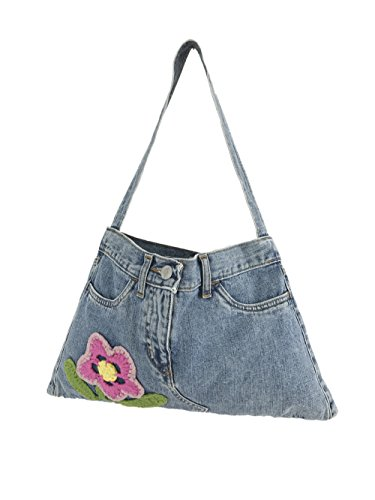 Fornarina Women Jeans Bag with Hand Made Embroidered Flower A