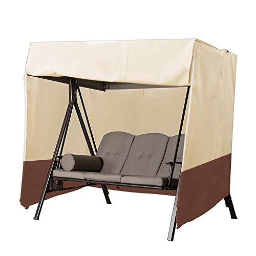 Patio Swing Chair Cover 3 Triple Seater,Outdoor Garden Hammock Glider Chair Cover,Waterproof Windproof Furniture Protector,UV Resistant Swing Canopy Cover,All Weather Protection CYFC90 (Beige+Brown) (Patio Seater Swing 3)