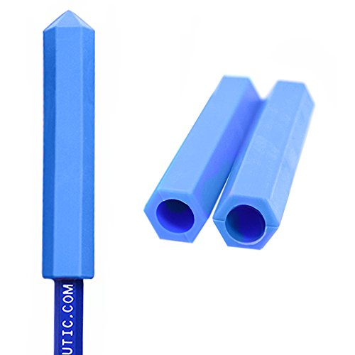(ARK's Krypto-Bite Pencil Topper Chewable Tubes - Made in the USA (3 Pack of Xtra Xtra Tough, Blue))