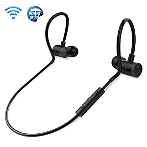 in Ear Wireless Bluetooth Headphones - Waterproof Black Cordless Sports Earbuds Headset Earphones, Ear Buds Wireless Headphones w/Microphone for Audio Video Running Gym Workout Gaming - Pyle PSWPHP43