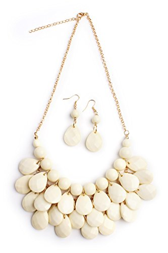 Riah Fashion Women's Natural Beaded Bubble Bib Chunky Statement Pendant Necklace Set (Bubble Cream)