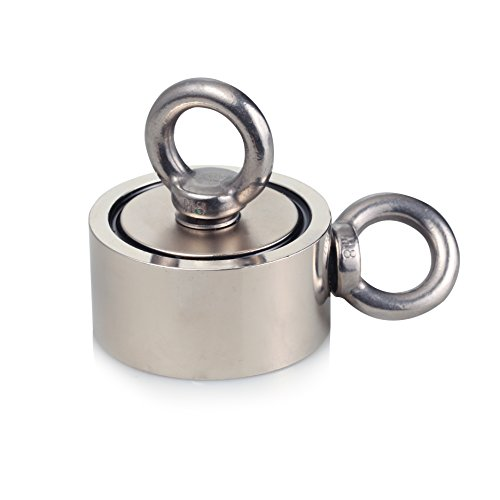 Wukong Second-Generation Neodymium Fishing Magnets (Double-Sided Magnetic) Round Neodymium Magnet with Eyebolt, Combined 600 lbs Pulling Force, 2.36