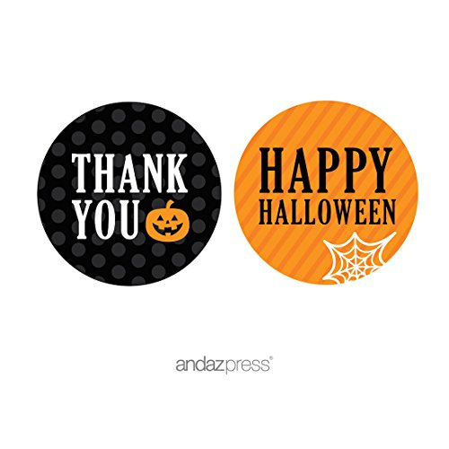 Andaz Press Classic Black and Orange Halloween Party Collection, Thank You Happy Halloween Round Circle Label Stickers, 40-Pack ()