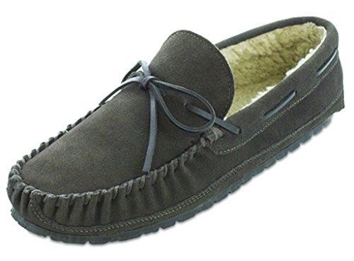 Minnetonka Men's Casey Slipper Charcoal Suede 12 M Minnetonka Shearling Moccasins