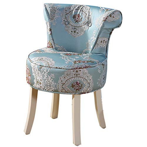 ZDY Shabby Chic Chair/Makeup Stool/Padded Bench Chair/Dressing Chairs and Stools/Baroque Piano Chair, Solid Wood Legs/Upholstered, for Dressing Room/Living Room/Bedroom/Restaurant