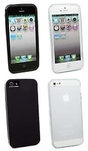 Kit Me Out ES ® Pack de fundas de gel TPU para Apple iPhone 5/5G - Negro, Transparente Esmerilado